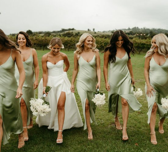 Green scene – Bridesmaid fashion on trend.